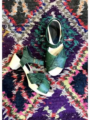 """Sandale Sabot Cuir Vert """"Python"""""""