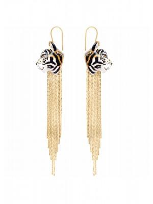 Boucles d'oreilles Tigre à franges