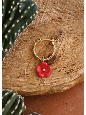 Mini Créole fleur rouge