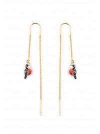 Longues Boucles d'oreilles Rouge-Gorge Rose